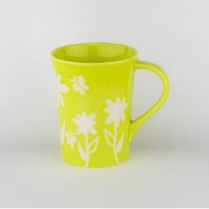 2007 Starbucks Lime Green/White Flowers Mug